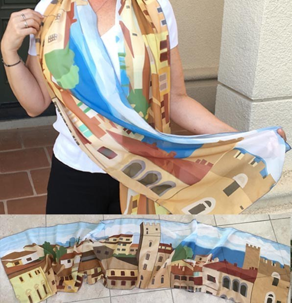 Face-mask-mascherina-Piazza-Grande-Arezzo-illustration-scarf